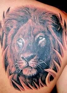 Lions Head Tattoos On Back Shoulder