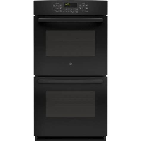 shop ge  cleaning true convection double electric wall oven fingerprint resistant black