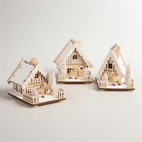 wood house  snow decor set   world market