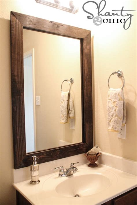 How Do You Frame A Bathroom Mirror by Cheap And Easy Way To Update A Bathroom Shanty 2 Chic