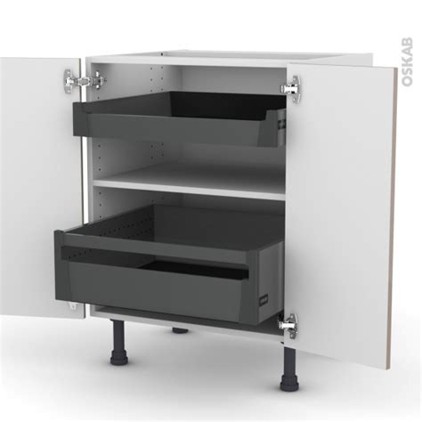 cuisine moka meuble de cuisine bas keria moka 2 portes 2 tiroirs à l
