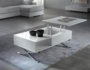 Table Basse Relevable Blanc Laqué : table basse plateau relevable blanc mura ~ Teatrodelosmanantiales.com Idées de Décoration
