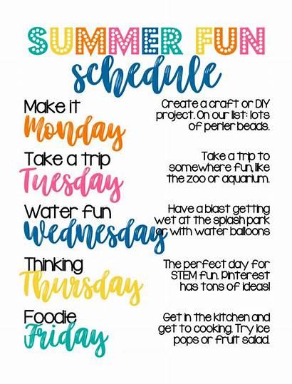 Summer Schedule Fun Activities Routine Break Bucket