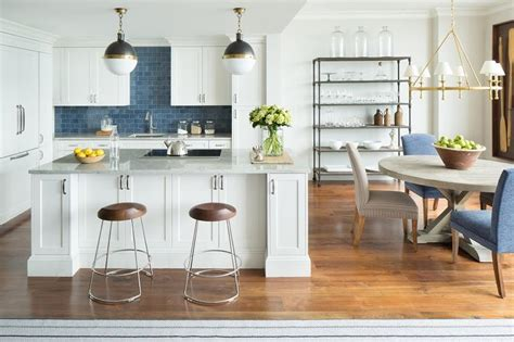 Blue Backsplash Kitchen : White Kitchen With Blue Backsplash