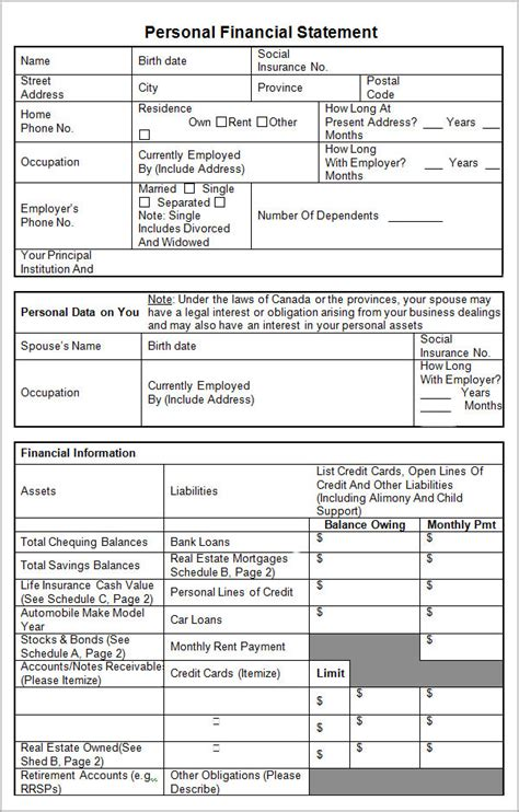 sample personal financial statement templates