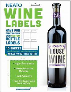 Neato Wine Bottle Labels - High Gloss - 40 Labels