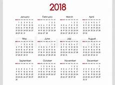 2018 year vector calendar modern simple design with round