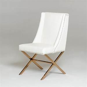 Modrest Alexia Modern White  U0026 Rosegold Dining Chair
