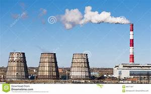 Industrial Landscape. Thermal Power Plant With Smoking ...
