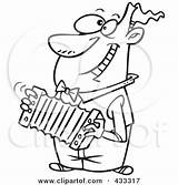 Accordion Playing Cartoon Coloring Line Clipart Happy Player Royalty Rf Toonaday Leishman Ron German Poster Printable Illustrations Entertainers Clipartof sketch template