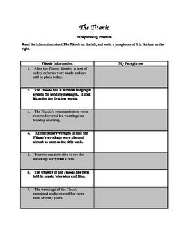 worksheets for teaching paraphrasing the titanic paraphrasing worksheet by the book tpt