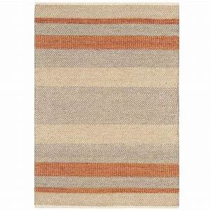 tapis moderne raye orange beige et gris en laine coton et With tapis gris orange