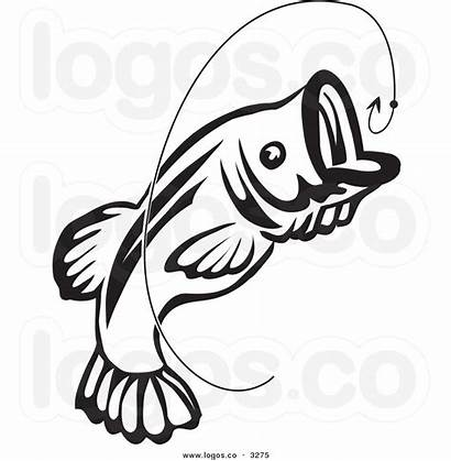 Fish Clip Bass Fishing Silhouette Jumping Clipart