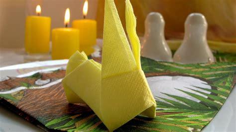 origami rabbit bunnytable napkin folding tutorial youtube