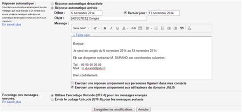 outlook message absence bureau réponse automatique gmail comment la configurer faq