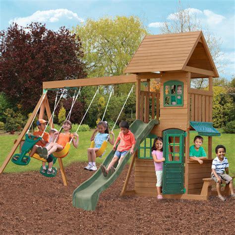 Big Backyard Playset by Big Backyard Windale Wooden Play Set Reviews Wayfair