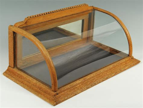 Countertop Display Cases - lot 652 oak and curved glass countertop display