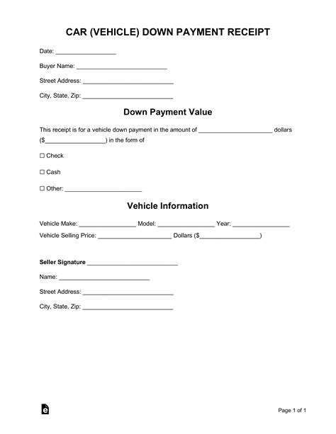 car vehicle downpayment receipt template word