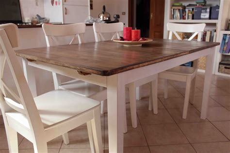 farmhouse style kitchen table with bi colored design and
