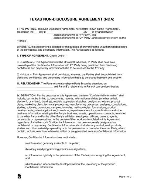 texas  disclosure agreement nda template eforms
