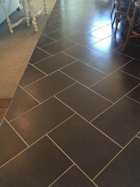 charcoal tile  herringbone pattern  light