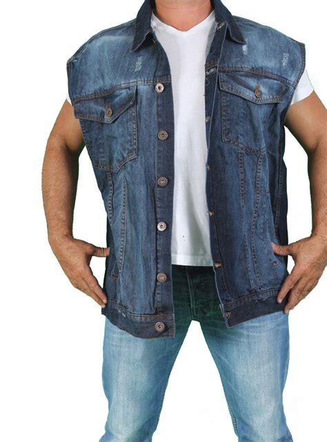denim vest 39 s biker blue sleeveless denim motorcycle vest button