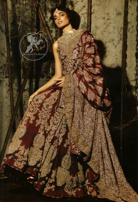 dark maroon heavy designer wear bridal dress
