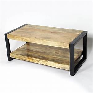 table basse industrielle 2 plateaux petit modele made in With meuble en manguier massif 14 table basse meuble tv bois massif et metal industriel