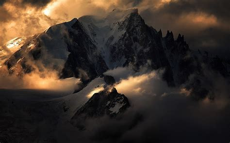 mountain sunrise alps nature summit snow clouds