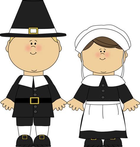 Pilgrim Boy and Girl Clip Art - Pilgrim Boy and Girl Image