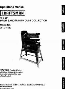 Craftsman 351215680 User Manual Drum Sander Manuals And