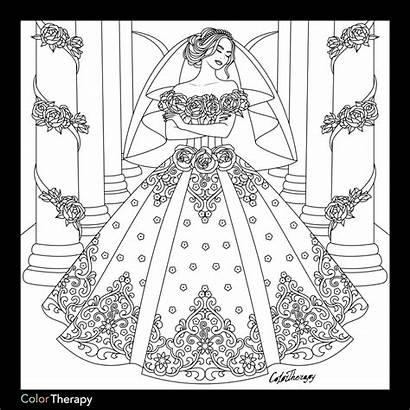Coloring Pages Dresses Marriage Adult Adults Books