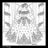 Coloring Pages Dresses Colouring Marriage Books Sheets Adults Princess Blank Adult Printable Bridal Ceremony Web Bride Cream Odd Apps Fantasy sketch template