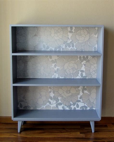how to paint back of bookcase painted bookcase with wallpaper back