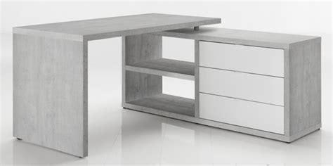 bureau x bureau d 39 angle réversible pratico béton blanc brillant