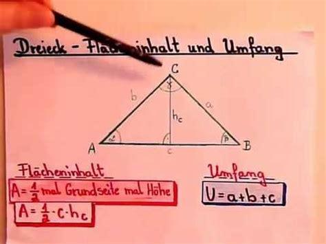 dreieck flaecheninhalt und umfang berechnen youtube