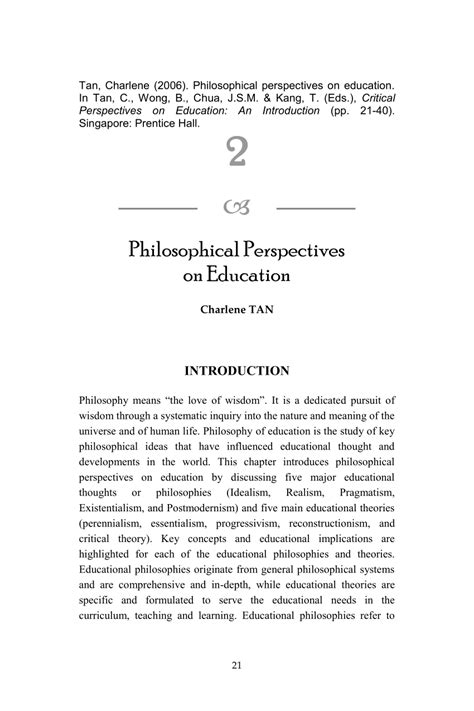 philosophical perspectives  education