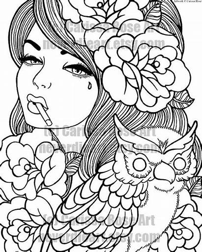 Coloring Pages Digital Outline Own Printable Rose