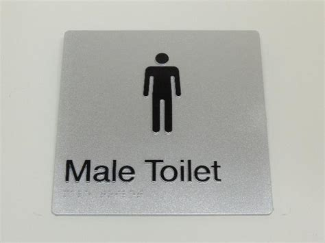male toilet sign silver  black braille  raised male