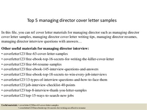 top  managing director cover letter samples