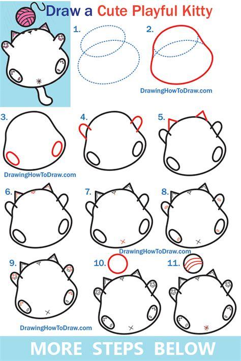draw  cute kawaii fat kitty cat playing  yarn
