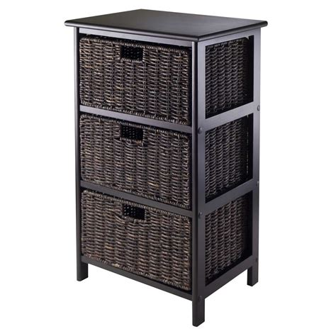 storage bookcase with baskets omaha storage rack with 3 baskets by winsome in shelves