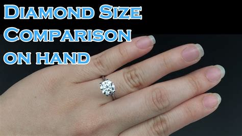 solitaire engagement ring size comparison on 0 3ct 0 4ct 0 5ct 0