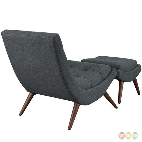 r modern upholstered lounge chair and ottoman with wood