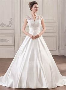 ball gown v neck court train satin lace wedding dress with With satin lace wedding dress