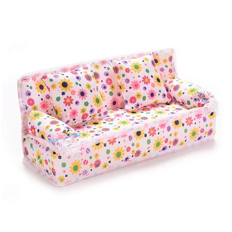 Mini Couches For by 2016 Mini Dollhouse Furniture Flower Cloth Sofa With