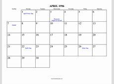 April 1996 Calendar