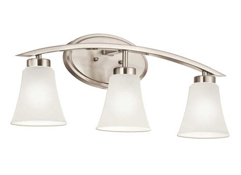 lowes bathroom light fixtures brushed nickel 3 lights