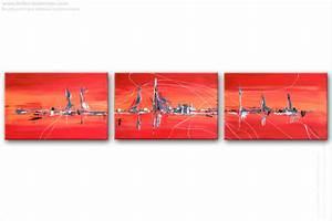 triptyque moderne rouge horizontal tendance, tableaux abstrait panoramique rouge création