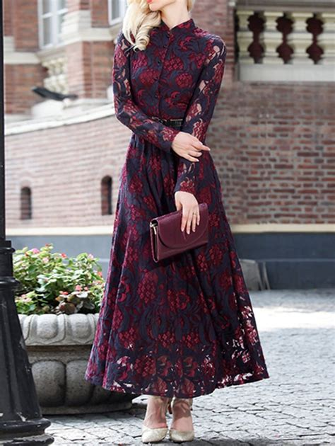 vintage lace long sleeve   maxi prom dress